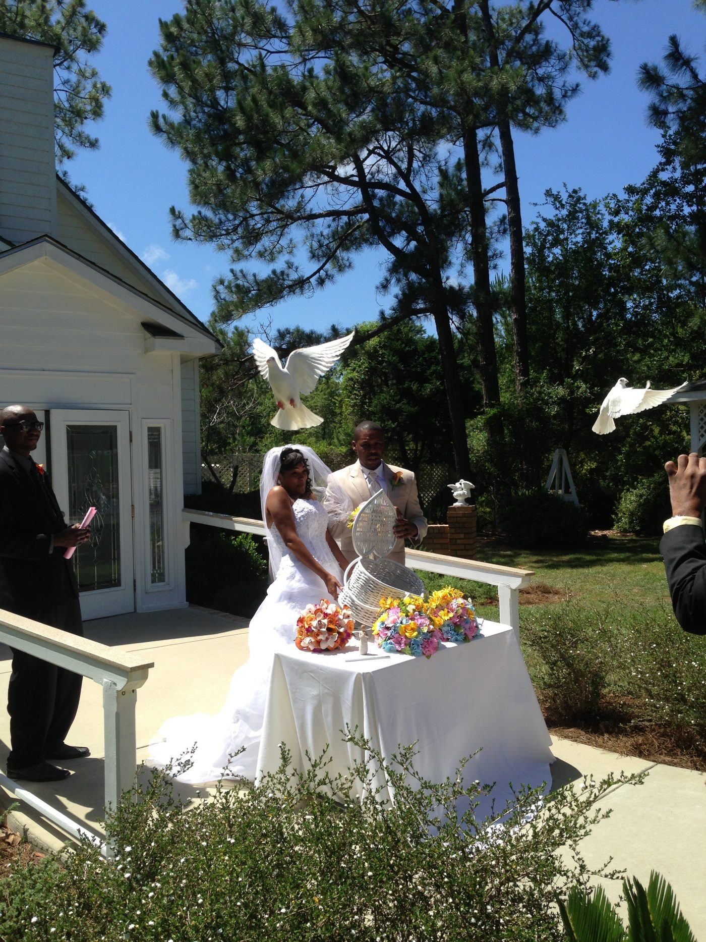 White Dove Release after ceremony in chapel