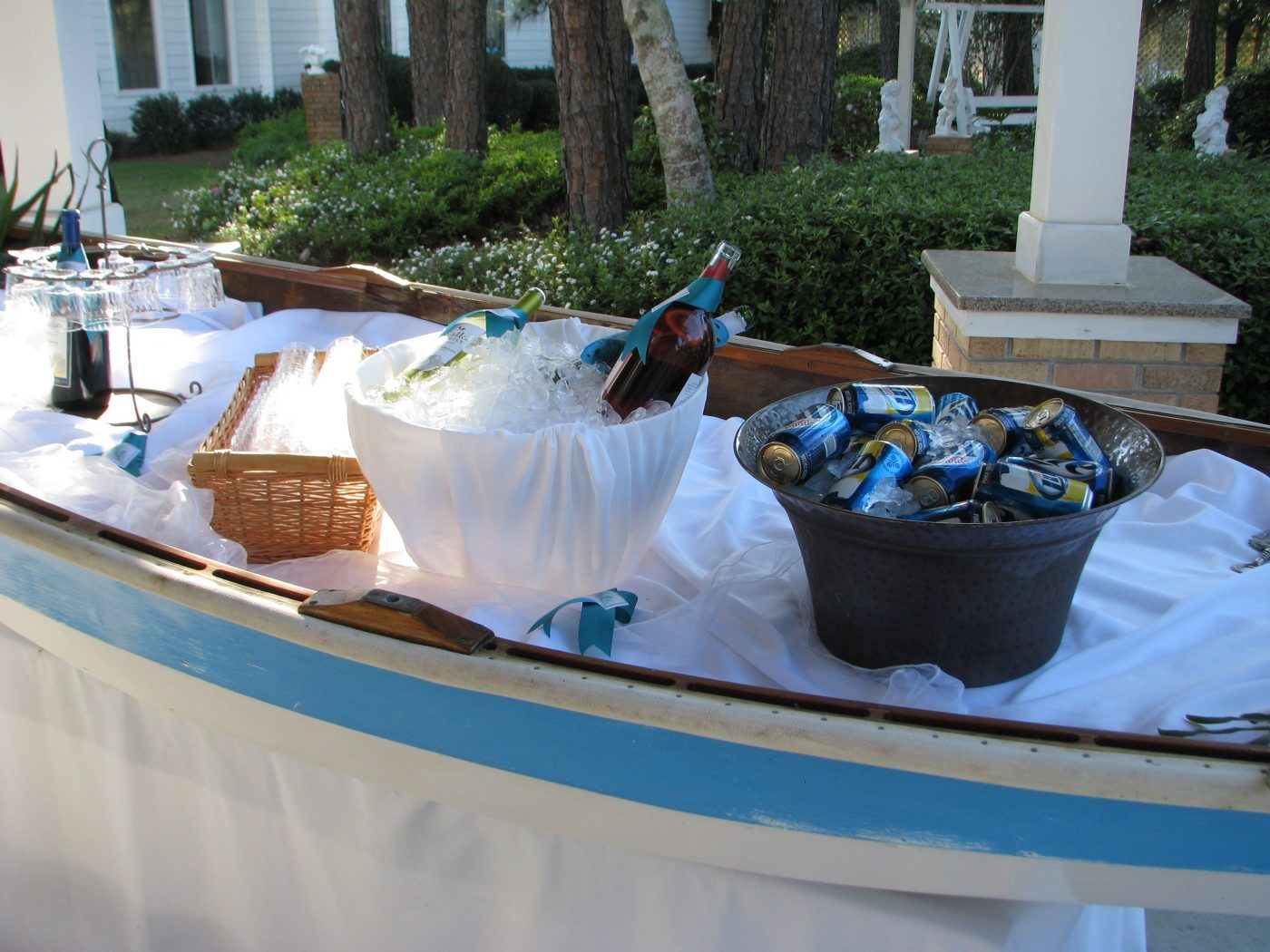 The wooden boat is our BAR