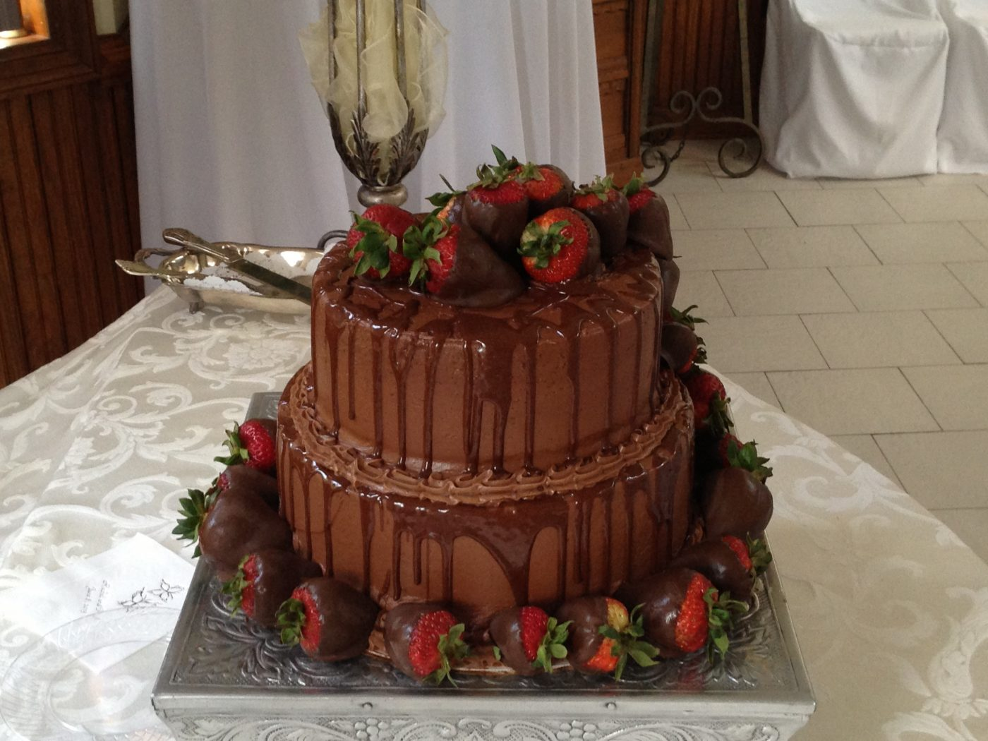 Chocolate Groom's Cake with Chocolate Covered Strawberries