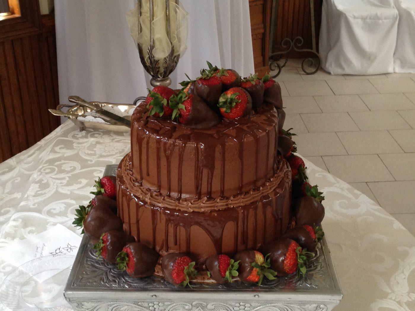 Chocolate Groom's Cake with Chocolate Covered Strawberries