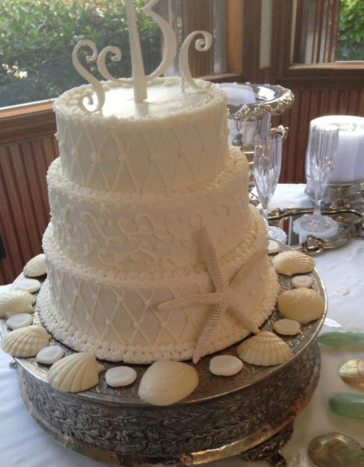 Beach Decorated Wedding Cake