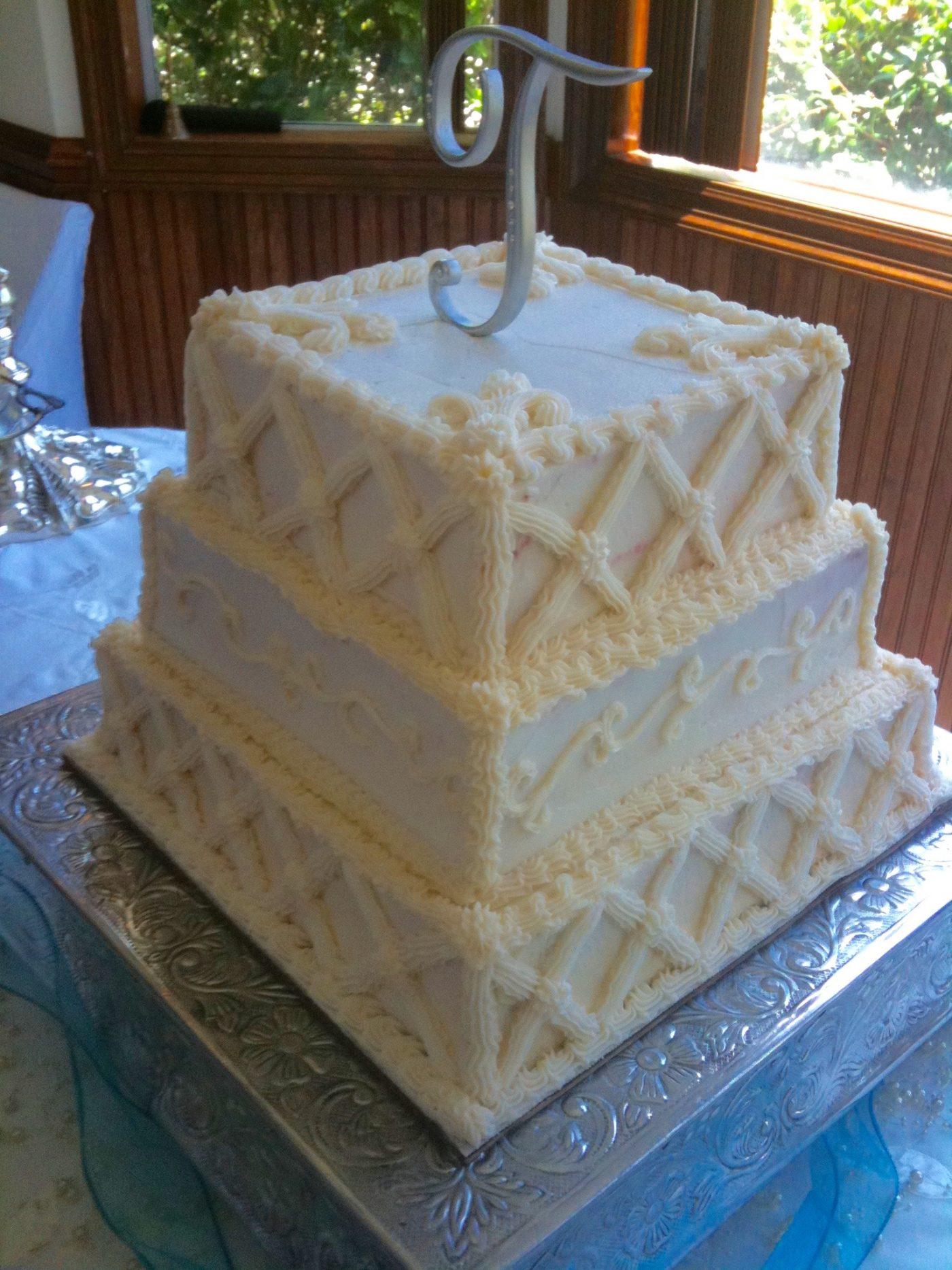 Square Bride's Wedding Cake